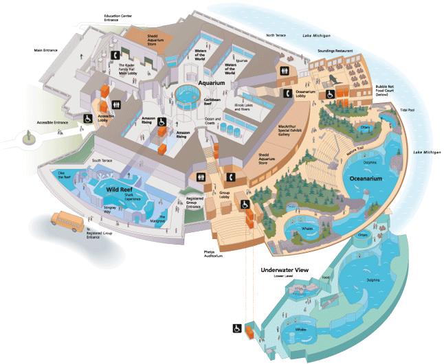 Shedd Aquarium Map Map :: Vistors Map :: Jeffery West Design Information Design and  Shedd Aquarium Map